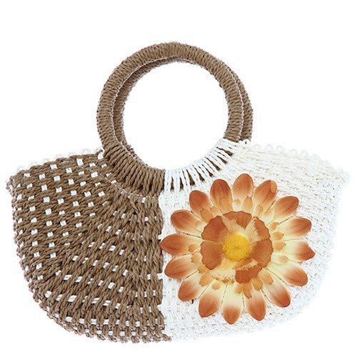 Sunflower Straw Woven Lady Tote