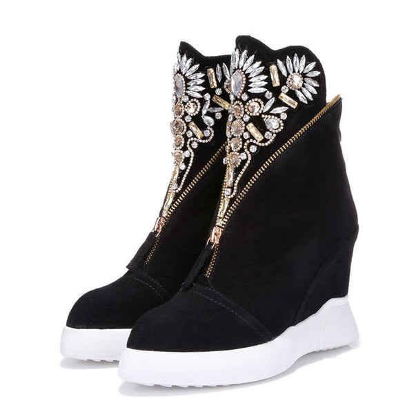 "TOP Fashion Genuine Leather Crystal Decorated Boot's ""Height  Increasing"""