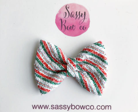 Christmas Stripe Small Glitter Bow
