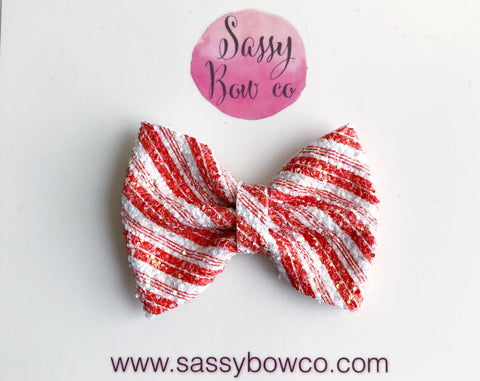 Candy Cane Stripe Small Glitter Bow