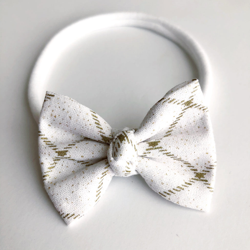 "White & Gold Stripe 2"" Chloe bow"