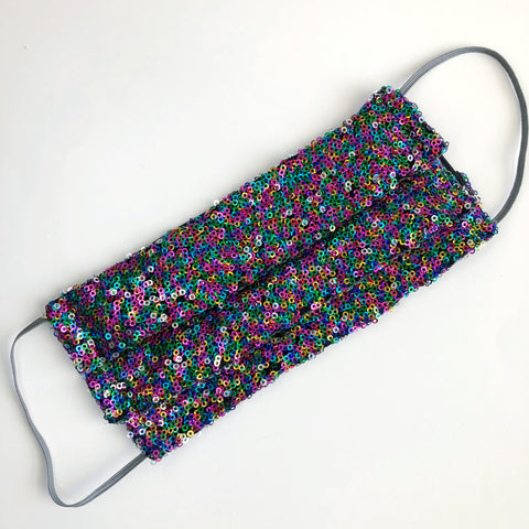 Rainbow sparkle sequin face mask