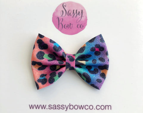 Rainbow Leopard small Glitter Bow