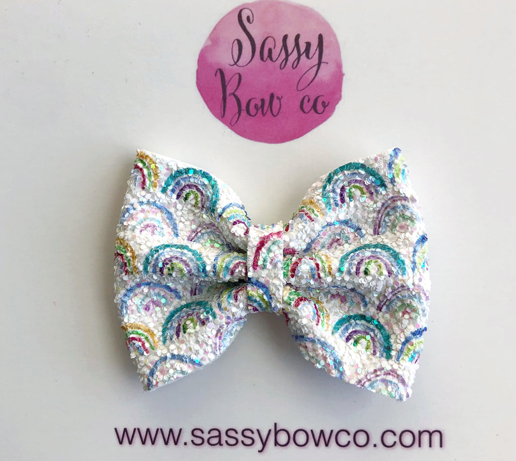 Rainbow small Glitter Bow