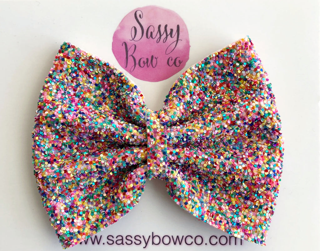 Candy Dots Large Glitter Bow