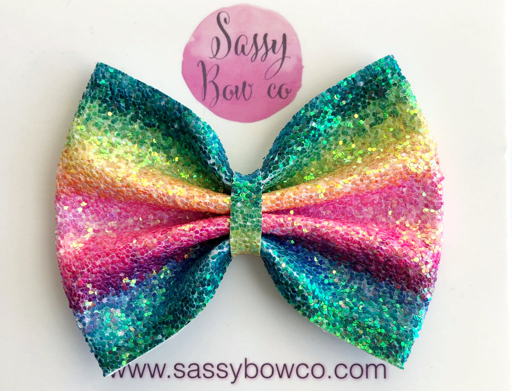 Rainbow Stripe Large Glitter Bow