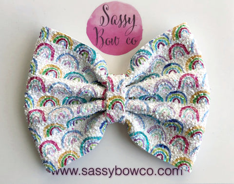Rainbow Large Glitter Bow