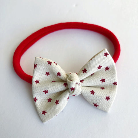 "Cream and red stars 2"" Chloe bow"