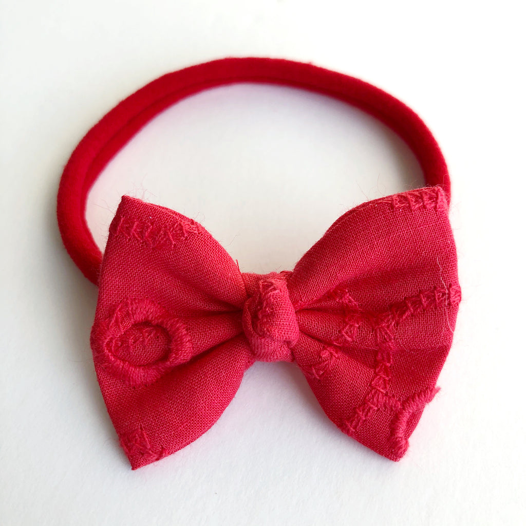 "Red Eyelet 2"" Chloe bow"