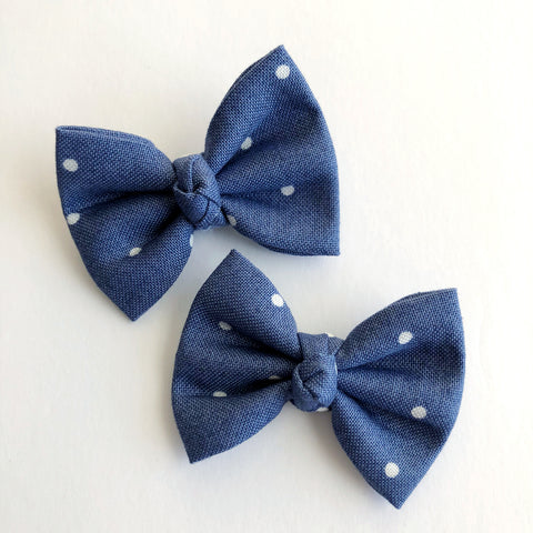 "Navy Dot 2"" pigtail set"