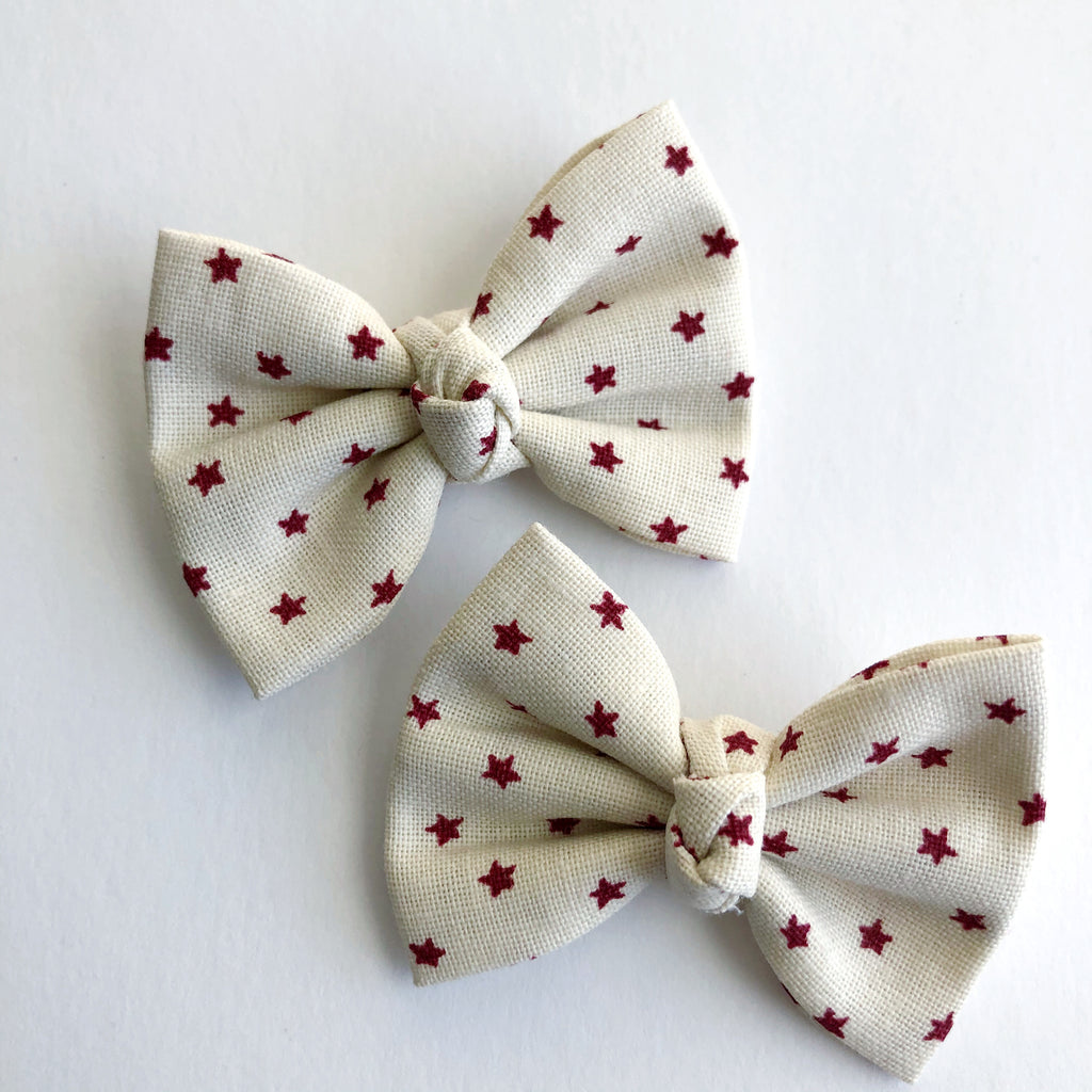 "Cream and red stars 2"" pigtail set"