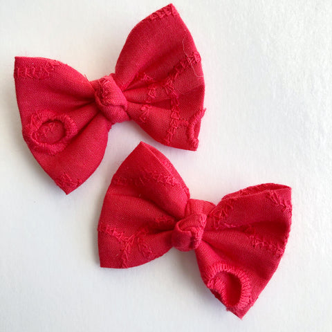 "Red Eyelet 2"" pigtail set"