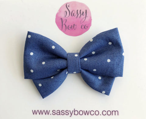 Navy Dot Madi Cotton Bow