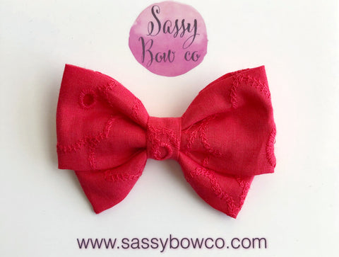 Red Eyelet Madi Cotton Bow