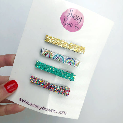 Rainbow Glitter Clip Set