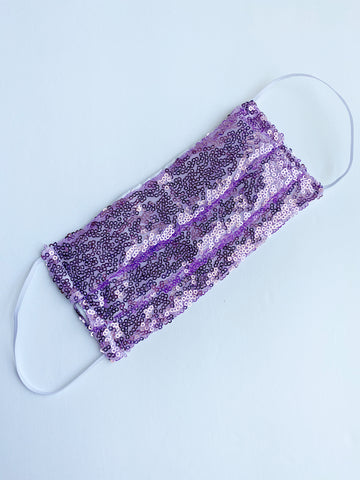 Lavender sparkle sequin face mask