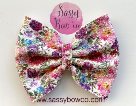 Harvest Floral Large Glitter Bow