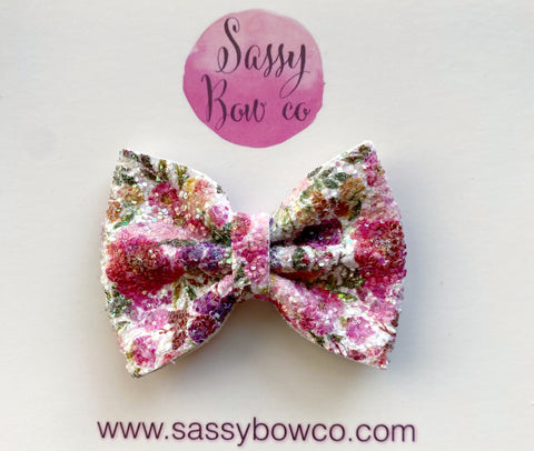 Harvest Floral Small Glitter Bow