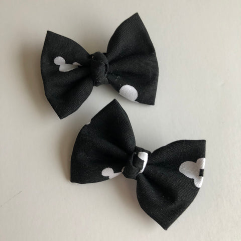 "Black & white Mickey 2"" pigtail set"