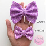 Small Dark Plum Matte Glitter Bow