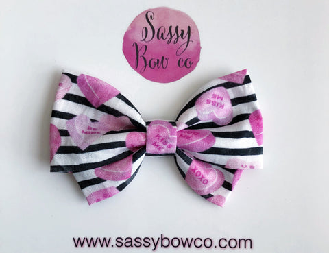 Candy Heart Stripes Madi Cotton Bow
