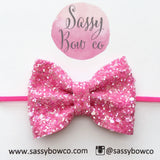 Small Strawberry Sorbet Glitter Bow