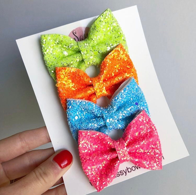 Summer small glitter Bow Bundle