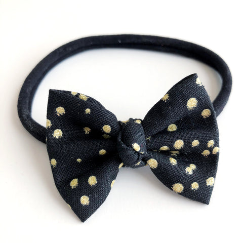 "Black & Gold Dot 2"" Chloe bow"