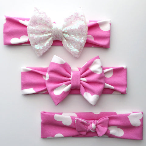 Pink Heart Headbands