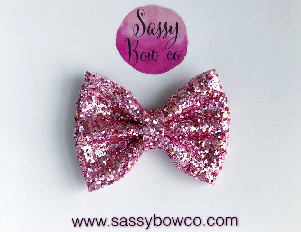 Small Bubblegum Pink Glitter Bow