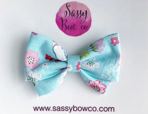 Blue Floral Madi Cotton Bow