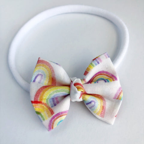 "Watercolor Rainbows 2"" Chloe bow"