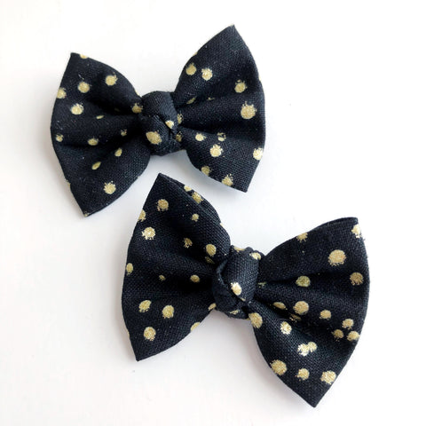 "Black & Gold Dot 2"" pigtail set"