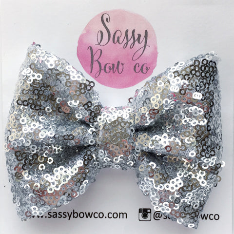 Silver Sequin Bow