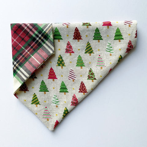 Burlap Christmas Tree / Holiday Plaid Reversible Dog Bandana