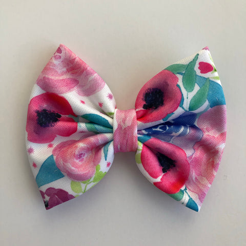"Neon Watercolor Floral 4"" Capri Bow"