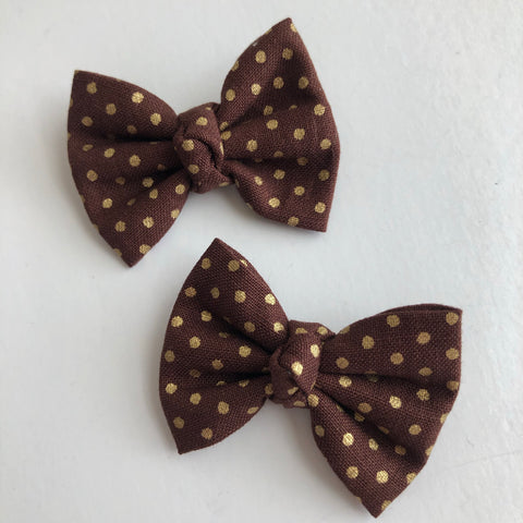 "Chocolate Gold Dot 2"" pigtail set"