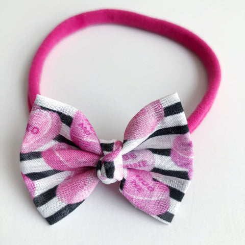 "Candy Heart Stripes 2"" Chloe bow"