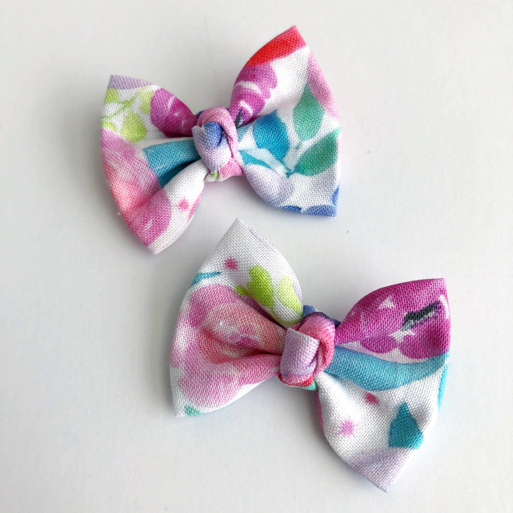 "Neon Floral Watercolor 2"" pigtail set"