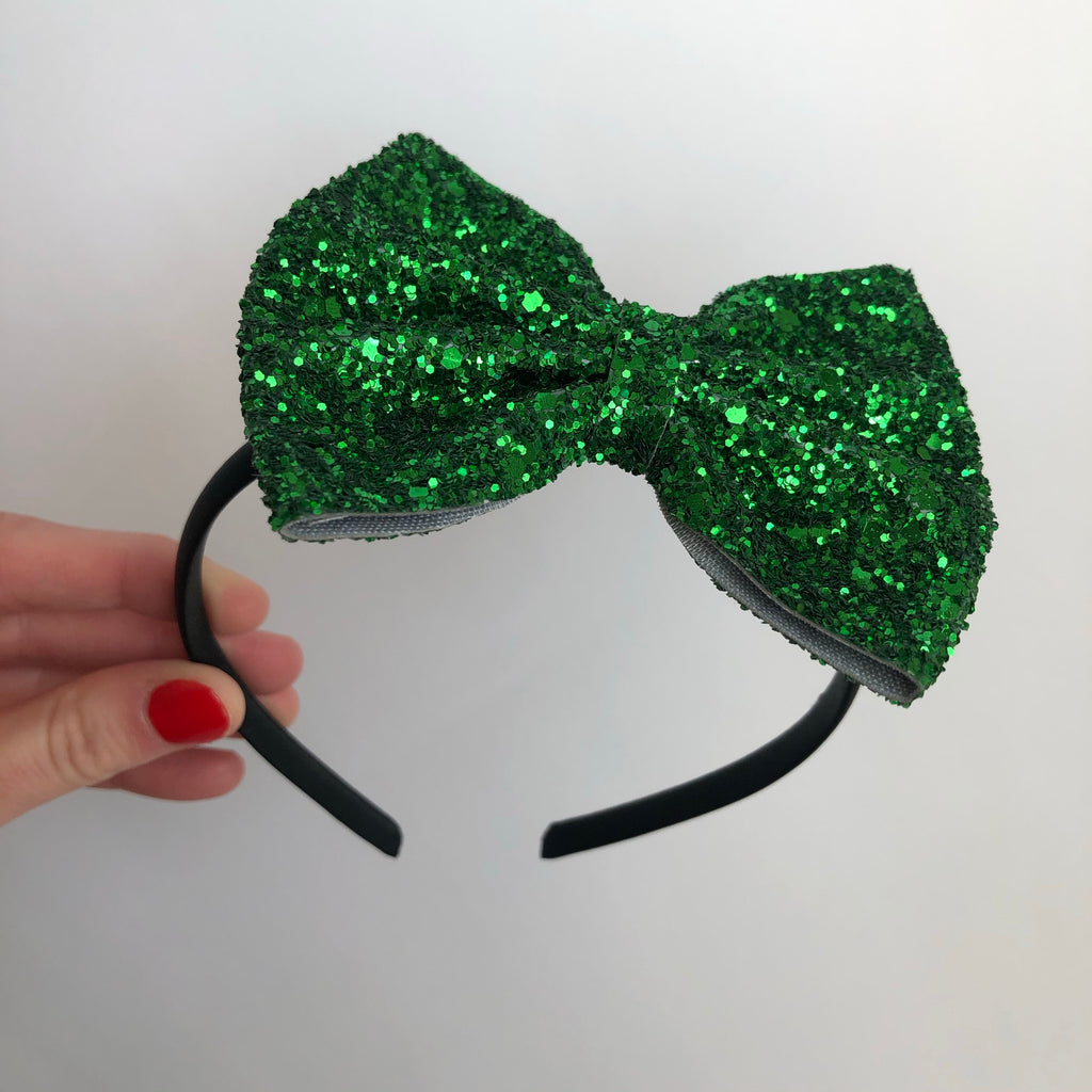 Large Green Glitter Bow Hard Headbands