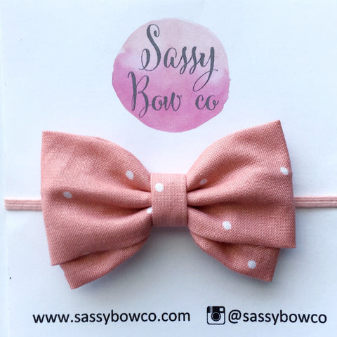 Mauve Dots Madi Cotton Bow
