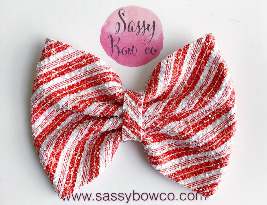 Candy Cane Stripe Large Glitter Bow