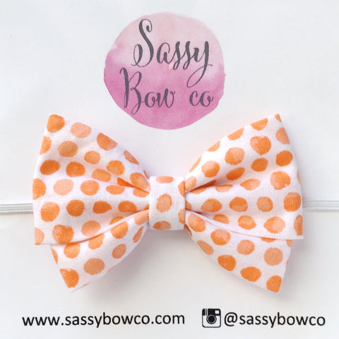 Orange Watercolor Dot Madi Cotton Bow