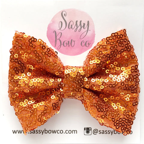 Pumpkin Orange Sequin Bow