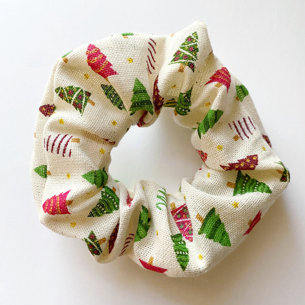 Burlap Christmas Tree Cotton Scrunchie