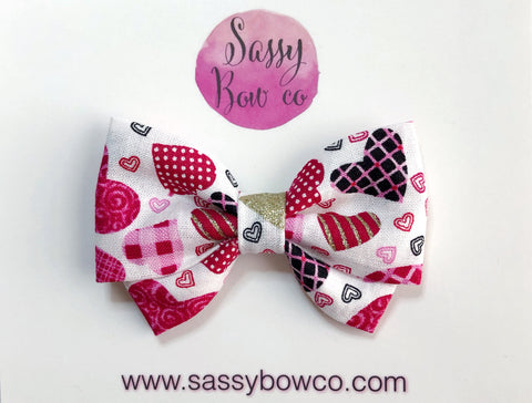 Plaid Hearts Madi Cotton Bow
