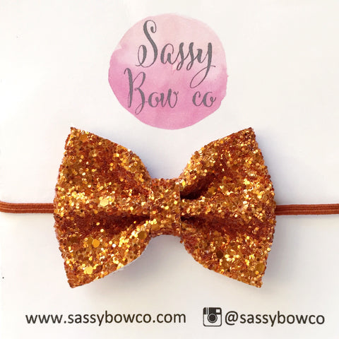 Small Burnt Orange Glitter Bow