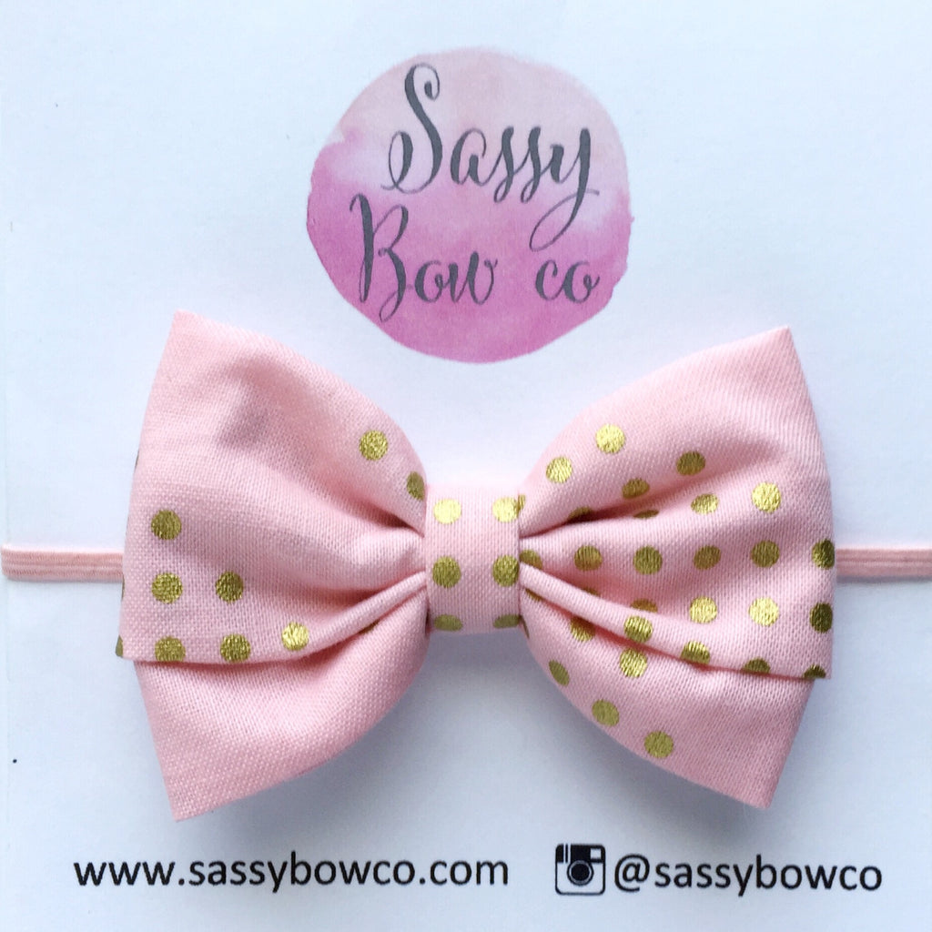 Blush & Gold Dots Madi Cotton Bow