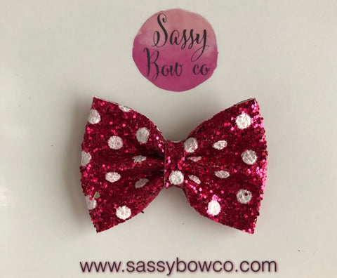 Pink Minnie Dot Small Glitter Bow