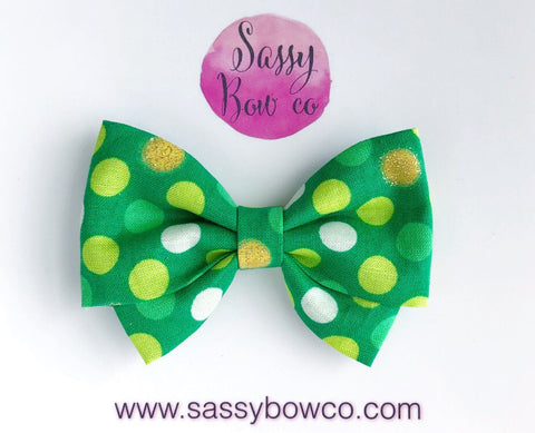 St. Patricks Day Polkadot Madi Cotton Bow